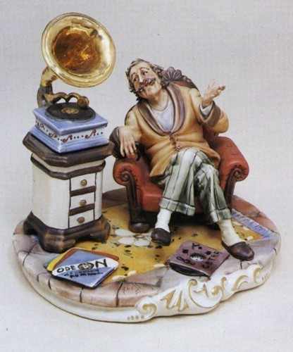 Primary image for CAPODIMONTE Grandfather with Gramaphone Laurenz Sculpture COA  Italy