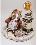 CAPODIMONTE Grandmother with Gramaphone Laurenz Sculpture COA  Italy - $392.52