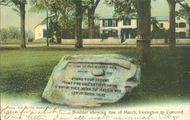 Boulder showing line of March, Lexington to Concord, Mass 1915 used Postcard  - $6.50