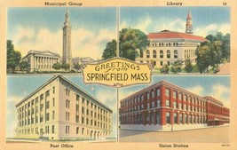 Greetings from Springfield, Mass unused linen Postcard  - $4.99