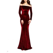 Women 2019 Off The Shoulder Velvet Evening Gown Long Sleeves Prom Party ... - $139.99