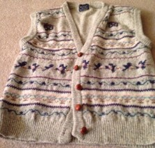 "Woolrich Sweater Vest Womens Design On Grey Chest 40""  Wool ? Braided Buttons - $17.50"
