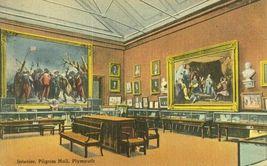 Interior, Pilgrim Hall, Plymouth Massachusetts unused linen Postcard  - $9.99