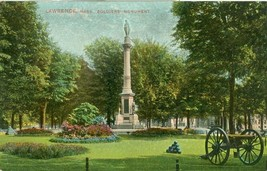 Lawrence, Mass, Soldiers Monument early 1900s used Postcard  - $3.99
