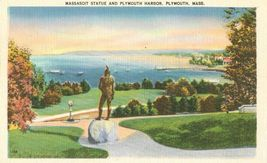 Massasoit Statue and Plymouth Harbor, Plymouth, Mass unused linen Postcard  - $5.99