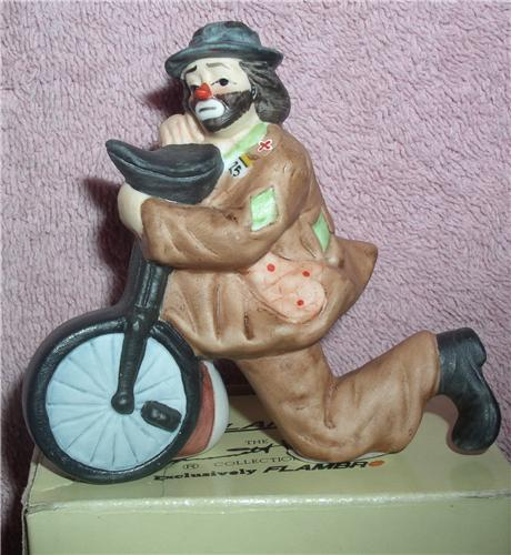 Primary image for Emmett Kelly Jr. circus clown on one Wheel Bike Figurine Flambro MIB