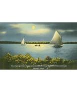 Moonlight on Lake Chaubunagungamaug Webster Mass, unused linen Postcard  - $8.25
