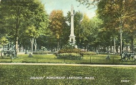 Soldiers Monument, Lawrence, Mass 1910 used Postcard  - $3.99
