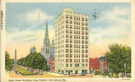 State Street Building from Capitol, Harrisburg, Pa 1938 used Postcard  - $4.25