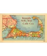 Tourist Auto Map of Cape Cod unused linen Postcard - $3.99