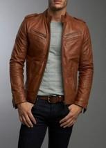 Men's Real Lambskin Tan Brown Leather Motorcycle Jacket Slim fit Biker Jacket -G - $119.99