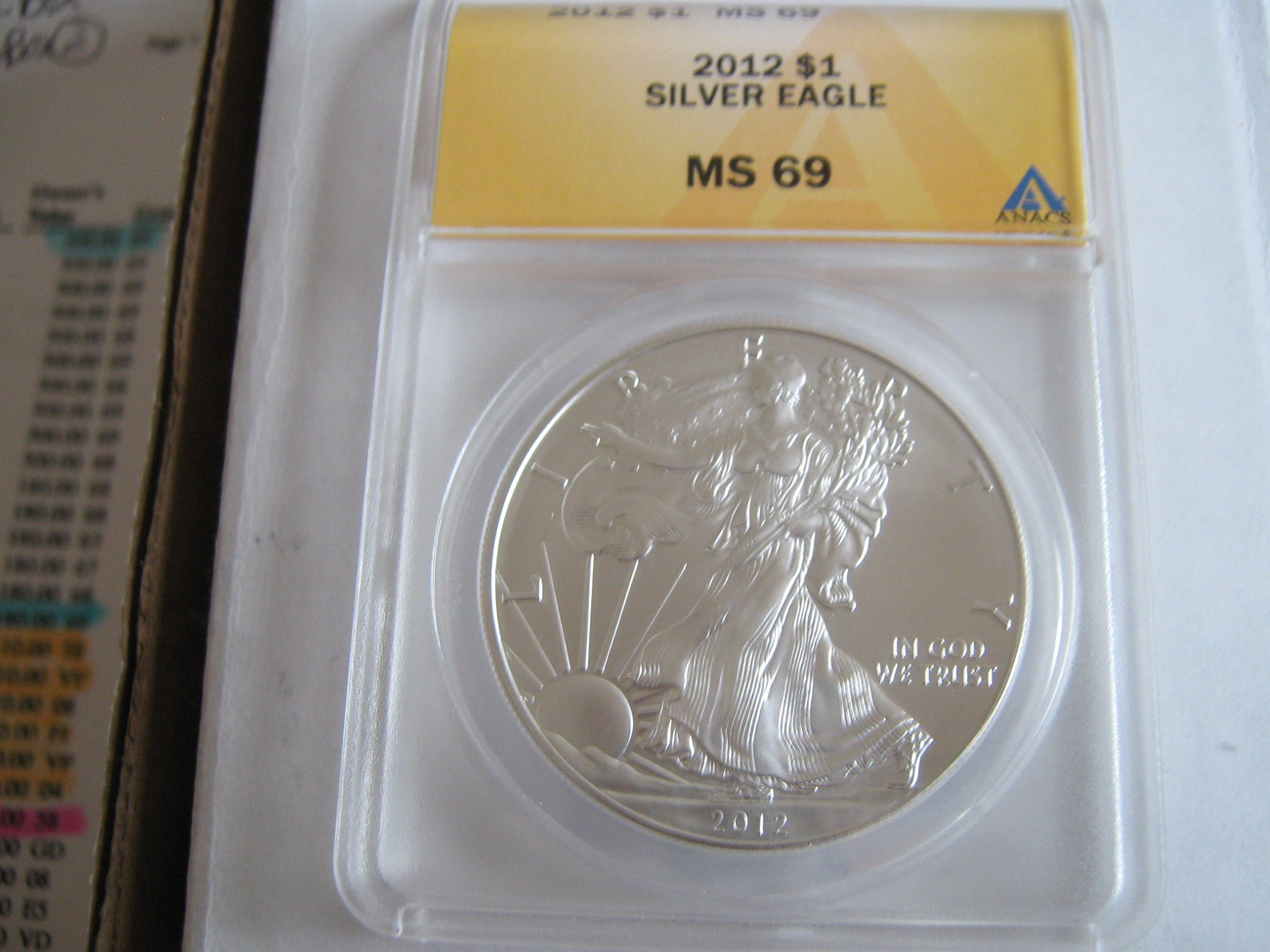 Primary image for Silver American Eagle , 2012 , ANACS MS 69