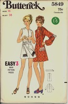 Uncut 1970s Size 16 Bust 38 Easy Mini Micro Dress Scarf Butterick 5849 P... - $12.99