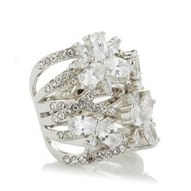 Joan Boyce Pave Weave Clear Crystal Flower Silvertone Rhodium Band Ring ... - $58.04