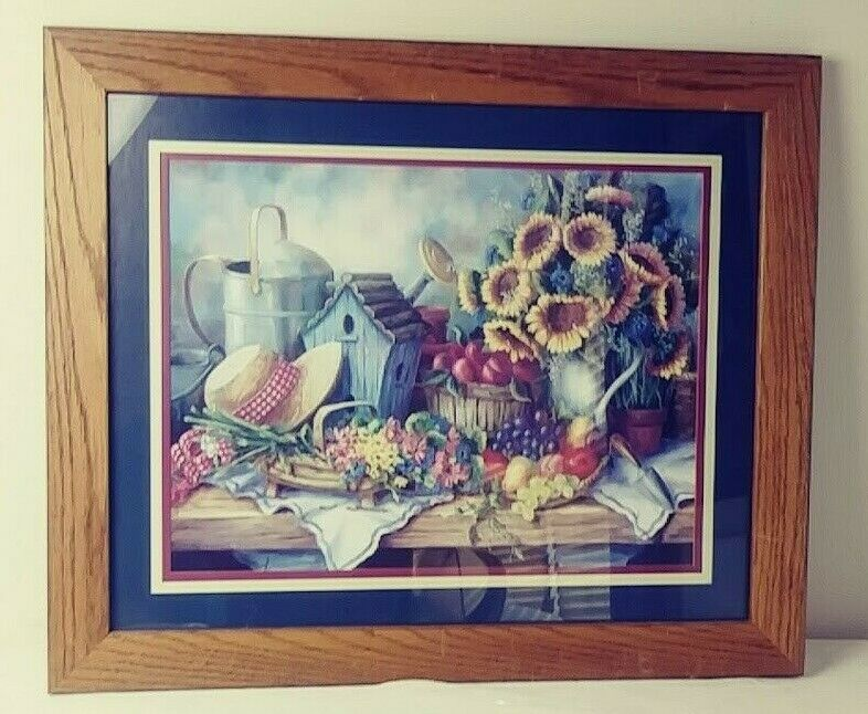 Home Interiors Picture Sunflowers Hat Birdhouse Fruit Sold Wood Frame  image 3