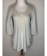 JOHNNY WAS Womens Embroidered Letty Blouse Top Scoop Neck Beige Floral T... - $79.95
