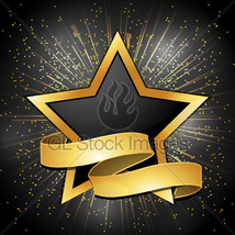 Black and gold star and banner background thumb200