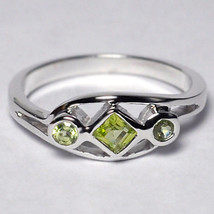 Natural Peridot 3 Stone Band Ring Womens August Birthstone 925 Silver Be... - $49.00