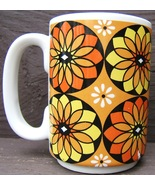 Flower Power 1960s style Yellow Orange White Ceramic Mug Coffee Cup Vintage - $59.98