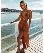 Burnt Orange Spaghetti Straps Prom Dresses with Lace - £86.28 GBP+