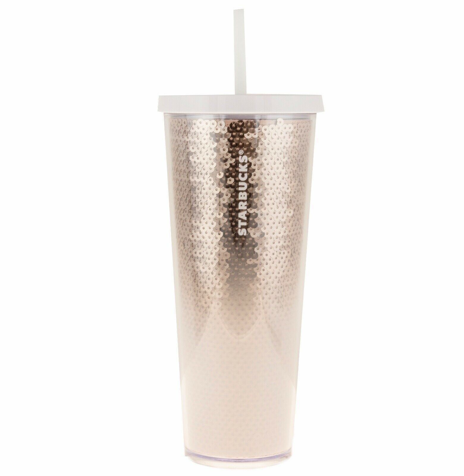 Primary image for Starbucks Holiday 2018 Rose Gold White Sequin Tumbler Cold Cup 24 Fl Oz NEW