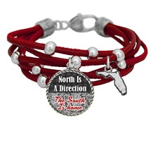 Florida North is a Direction South is Home Red Leather Bracelet Southern... - $13.80
