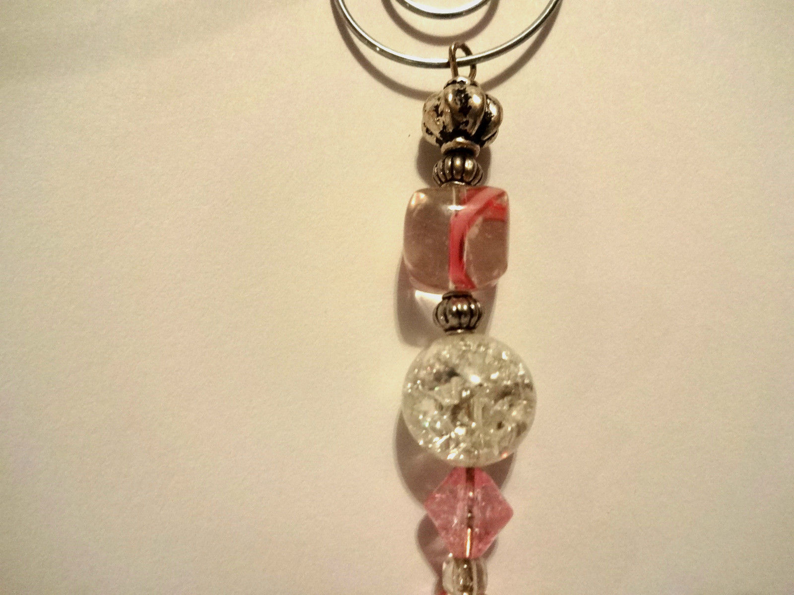 Hand Crafted Pink Breast Cancer Awareness Ornament With Silver Hope Ribbon Charm image 3