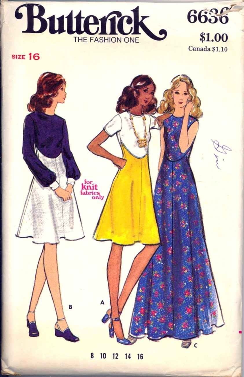 Primary image for 1970s Size 16 Bust 38 High Waist Dress Butterick 6636 Pattern Maxi Curved Seams