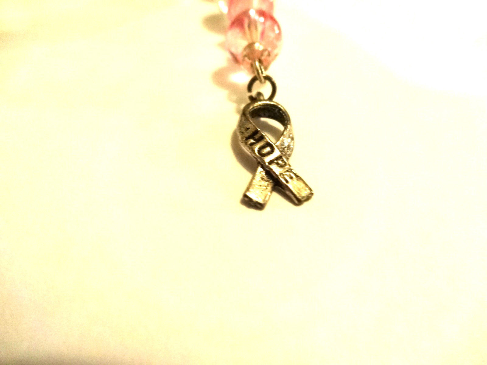 Hand Crafted Pink Breast Cancer Awareness Ornament With Silver Hope Ribbon Charm image 6