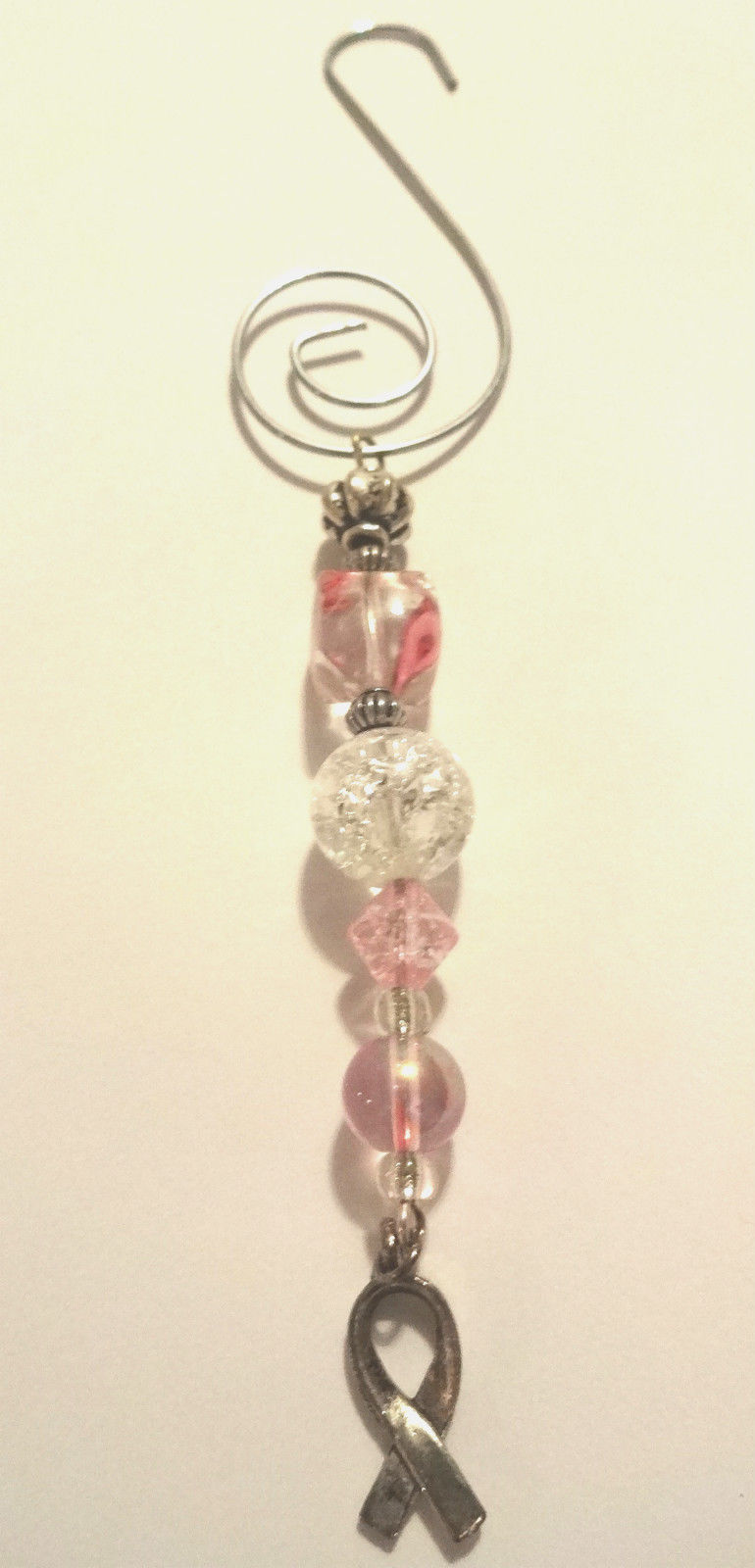 Hand Crafted Pink Breast Cancer Awareness Ornament With Silver Hope Ribbon Charm image 8