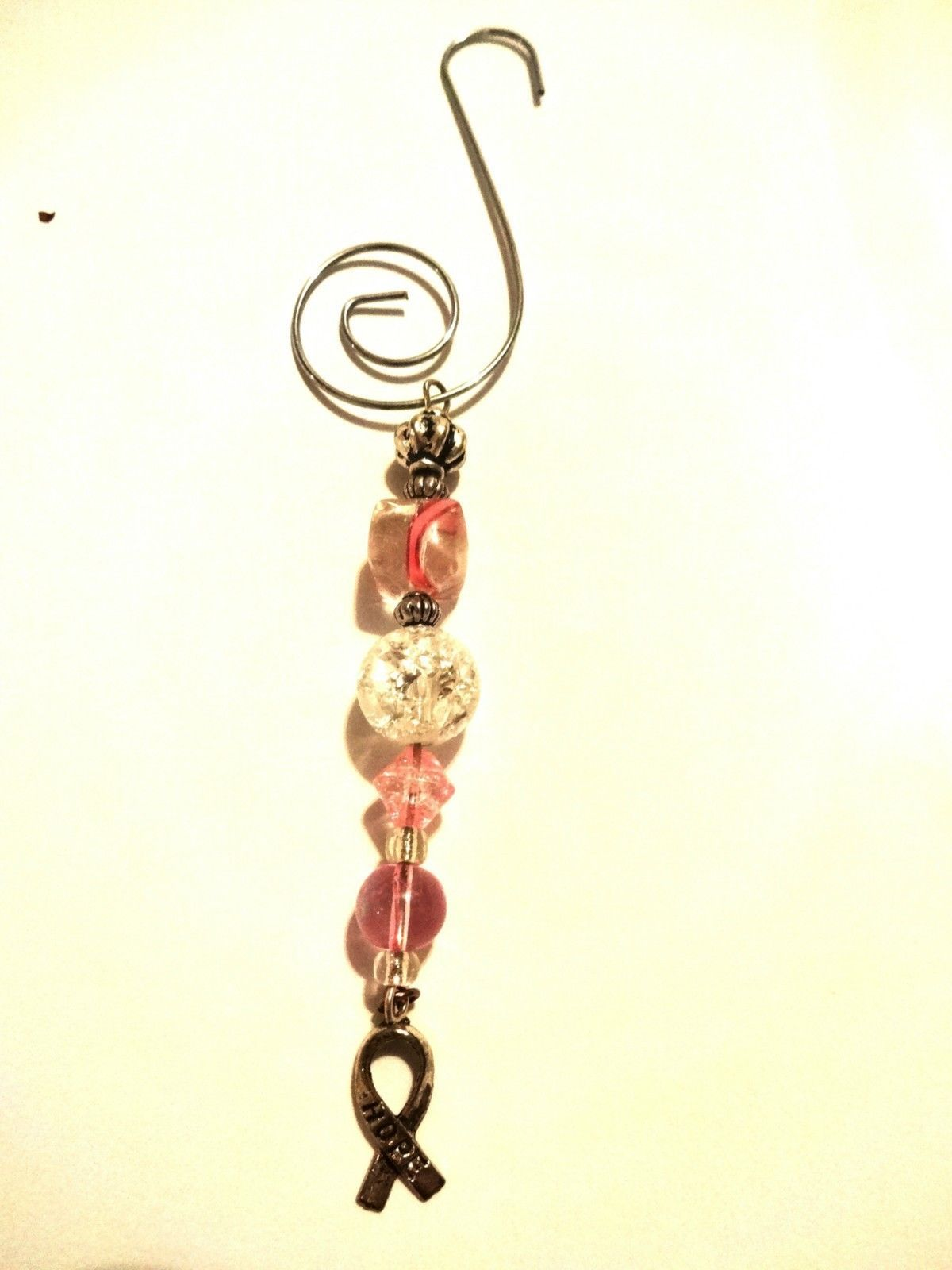 Hand Crafted Pink Breast Cancer Awareness Ornament With Silver Hope Ribbon Charm image 9