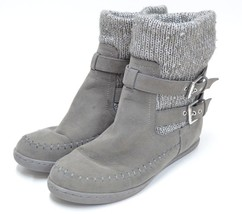 G by Guess Boots Booties Knitted Suede Style Grey Flats Size 8.5M - $28.44