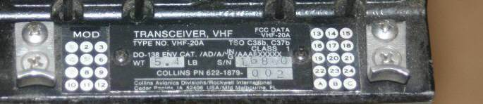 Rockwell-Collins VHF-20A Comm Transceiver XCVR Receiver