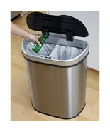 18.5-gallon Stainless Steel Motion Sensor Recycle Trash Can By Nine Star... - $109.99