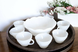 Vintage Milk Glass Bowl & 7 Cups Set Anchor Hocking Harvest Grapes Pattern  - $19.99
