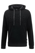 Hugo Boss Men's Hoodie Sweater Relaxed-fit Beach Top Hooded Jacket Black