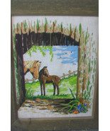 VINTAGE FRAMED NEEDLEPOINT OF TWO HORSES IN A FIELD, ANTIQUED WOODEN FRAME - $148.50