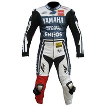 YAMAHA ENEOS BLUE/WHITE/RED REAL COWHIDE MOTOGP RACING LEATHER SUIT ALL ... - $235.00