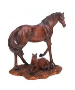 MOTHER and FOAL HORSES STATUE Mahogany-Like Finish - $25.95