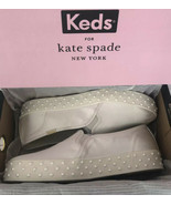 KATE SPADE NIB KEDS TRIPLE DECKER FAUX PEARL TRIM SNEAKER SHOE 8M WHITE ... - $89.00