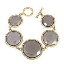 Inspired Silver Vintage Inspired Smokey Enamel Stones Gold Finished Brac... - $24.45
