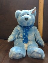 "Ty Beanie Buddy1999 HOLIDAY TEDDY Blue w/ White Snowflakes Scarf 13.5"" N... - $7.99"