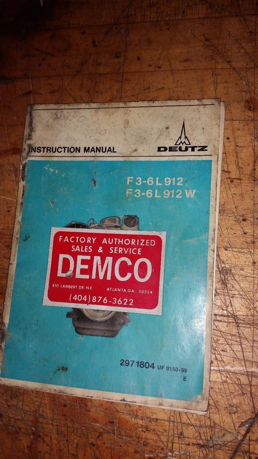 DEUTZ F3-6L 912/W ENGINE INSTRUCTION MANUAL PART# 297-1804