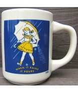 Morton Salt When it Rains It Pours Ceramic Mug Coffee Cup 1956 Morton Ad... - $59.98