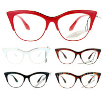 Womens High Point Squared Half Rim Look Cat Eye Retro Designer Eye Glasses - $9.85+