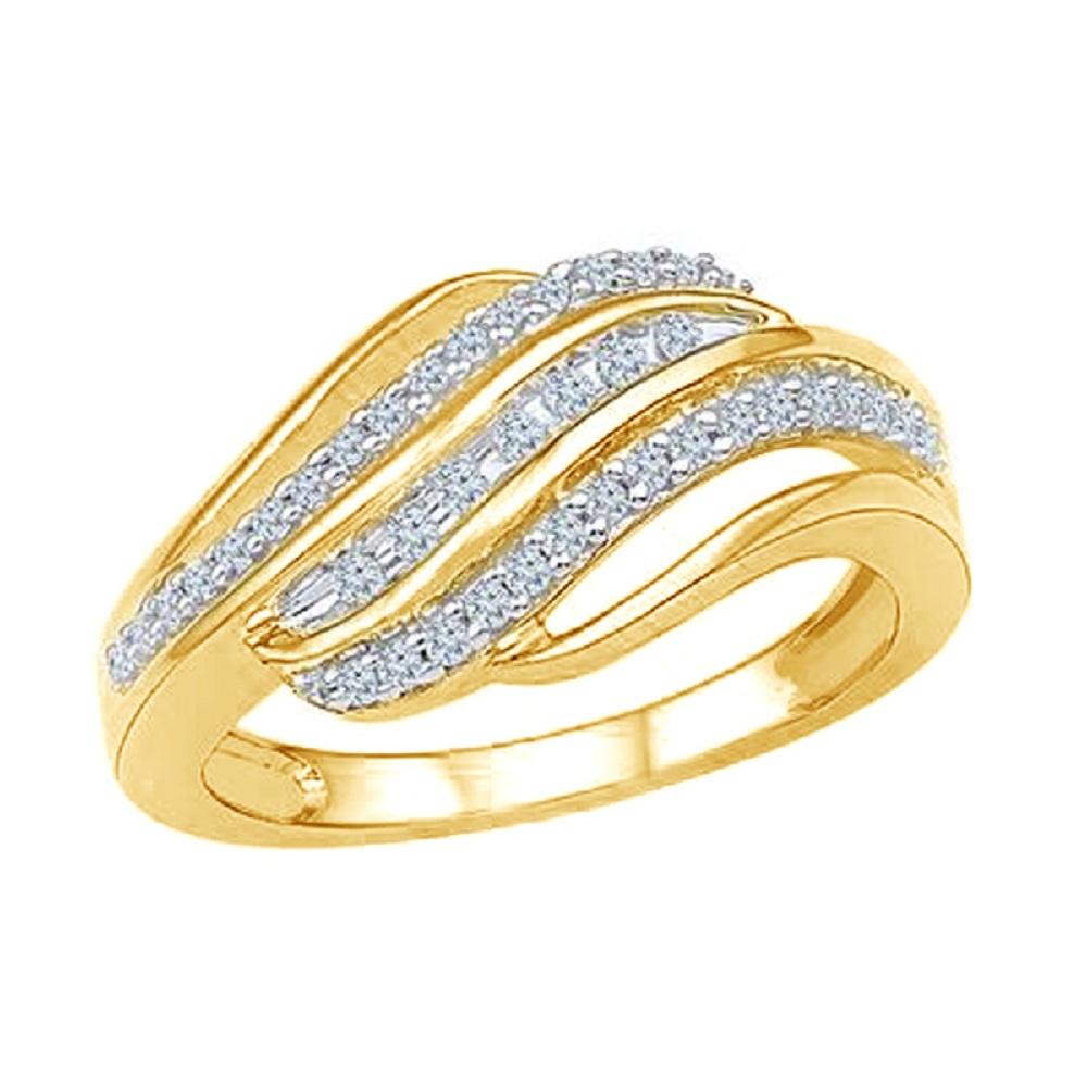 14k Yellow Gold Finish Round Shape Lab-Created Diamond Women