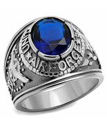 US Air Force Military Ring 316L Stainless Steel Blue Sapphire CZ USAF Si... - $14.80