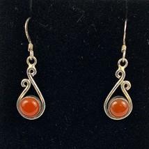925 Sterling Silver Vintage Round Carnelian Teardrop Dangling Pierced Ea... - $31.77