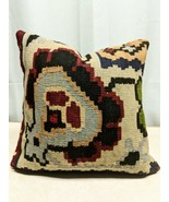 "Traditional Turkish Handwoven Old Kilim Wool Pillow 16""x16"" - $21.77"