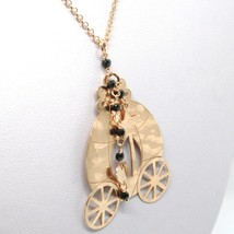 925 STERLING SILVER NECKLACE LAMINATED GOLD PINK LE FAVOLE WITH RAILWAY CARRIAGE image 1
